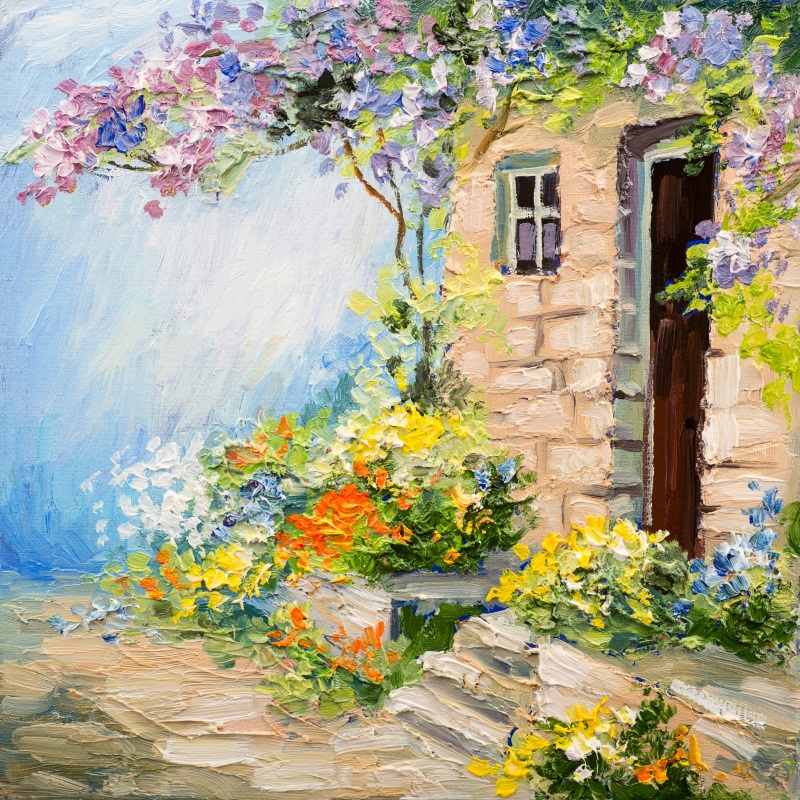 Laeacco Oil Painting Stone Brick House Flowers Tree