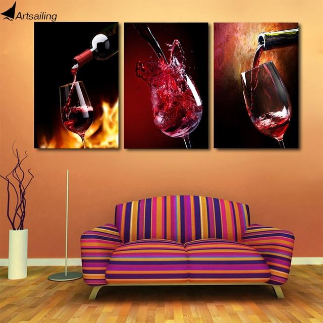 HD Printed 3 piece canvas vineyard vines red wine glass living room ...