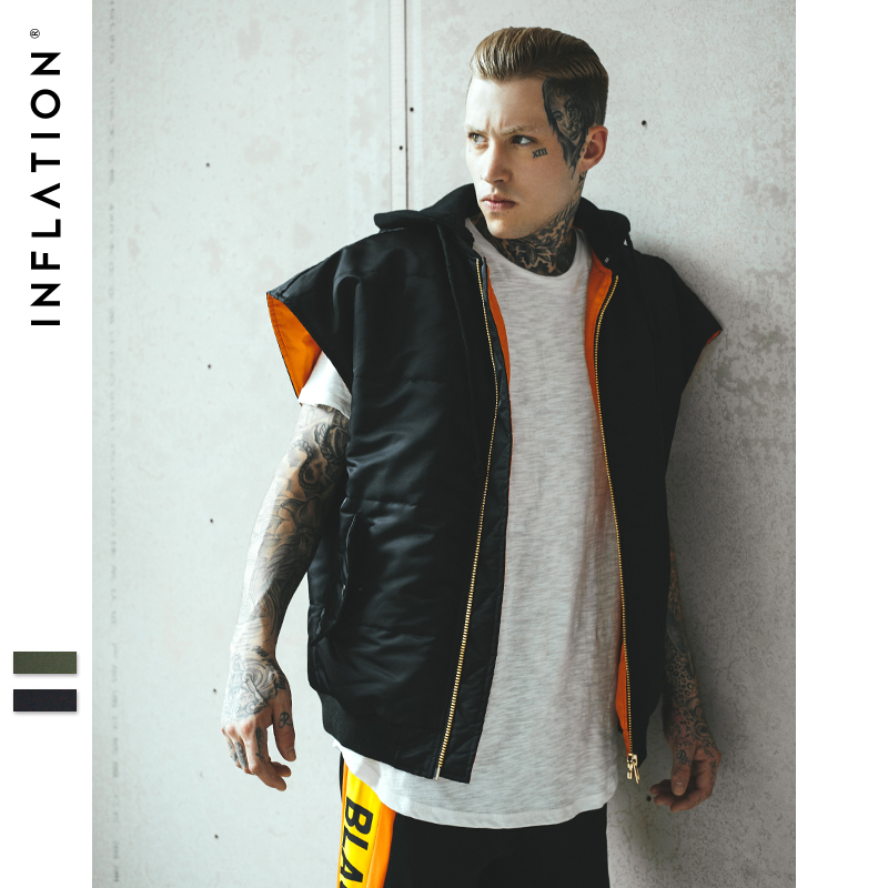 INFLATION New Winter Slim Fit Men Vest Coat Hoodies Fake Two Pieces With Zipper Oversize Solid Color Mens Vest Coat 278W17
