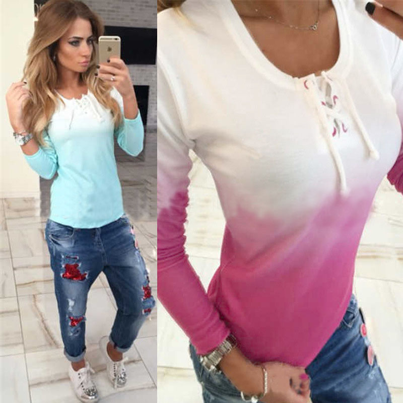 Gradiente de Color de Primavera Otoño Camiseta Ocasional de Las Mujeres Ropa de