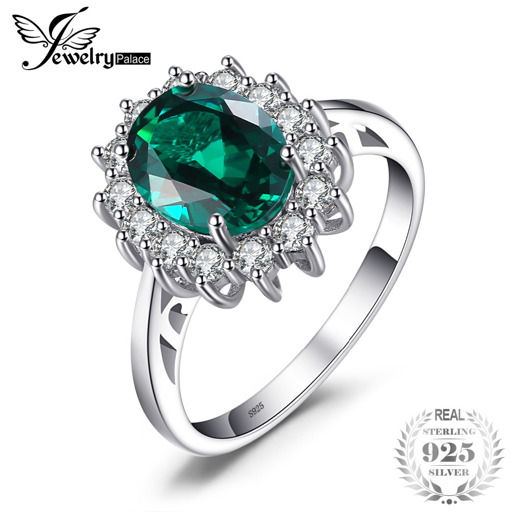 JewelryPalace Green Emerald 925 Sterling Silver Fashion Princess Diana Fidanzamento Anello di fidanzamento per donne Solitaire