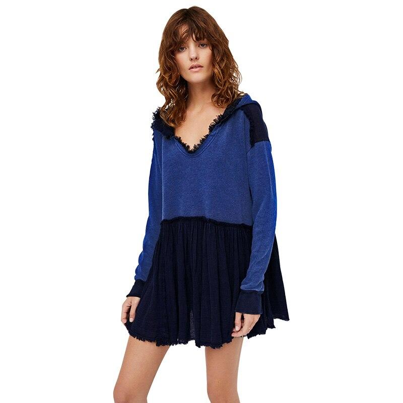 the best attitude 243ef 740f0 US $26.87 16% OFF|Sweatshirt Pullover Hoodie Kleid Damen Kurzen Beiläufigen  Losen Mit Kapuze Baumwolle Herbst Boho Chic Winter Kleid Frauen Vestidos ...