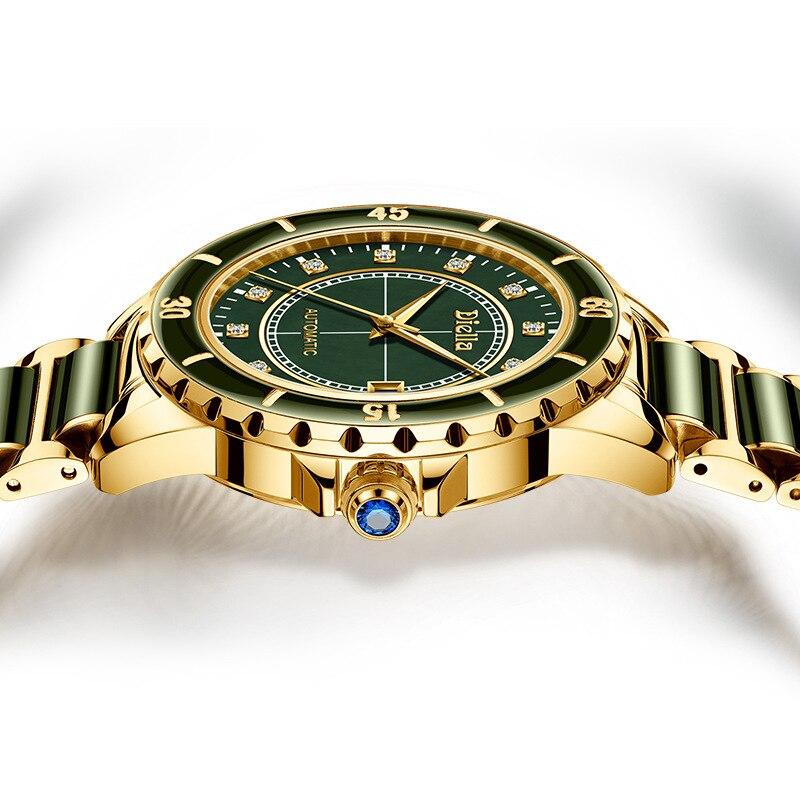 탑 에메랄드 옥 자동 남자 기계식 시계 사파이어 나선형 빛나는 손 달력 남자 손목 시계 스위스 브랜드-에서기계식 시계부터 시계 의  그룹 2