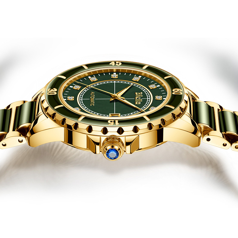 Top szmaragd Jade automatyczny męski zegarek mechaniczny Sapphire spiralne świetliste dłonie kalendarz mężczyźni zegarki na rękę szwajcaria marka w Zegarki mechaniczne od Zegarki na  Grupa 2