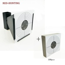 High Quality 14cm Funnel Shooting Target Holder Pellet Trap + 100 Paper for Air Rifle/Airsoft Shooting(China)