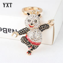 Lovely Dancing Bear Panda Cute Pendant New Crystal Charm Purse Bag Car Key Ring Chain Wedding Party Creative Favourite Gift(China)