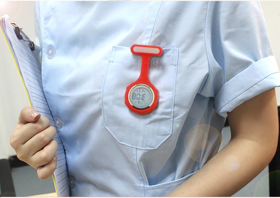 2019 ALK Digital Silicone nurse watch fob pocket watch doctor nurse timepiece brooch lapel Medical Nurse Watch Quartz with Clip 25
