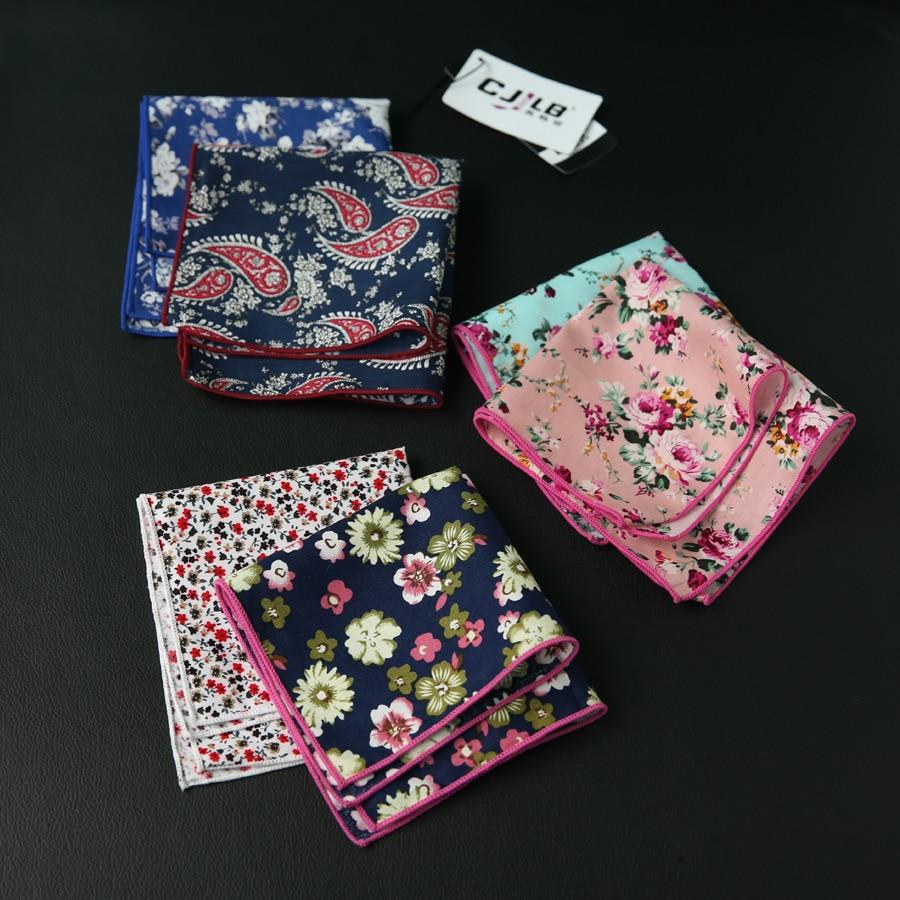 10pcs/lot 27colors Selectable Korean Fashion Designer High Quality Mens Pocket Square Handkerchief Print Flower Cotton 24x24cm
