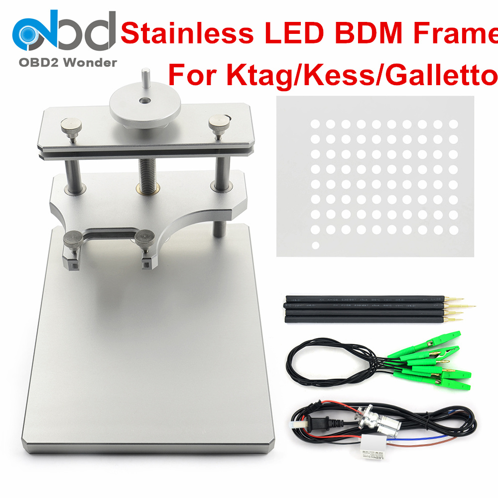 DHL Free Stainless Steel LED BDM Frame For Ktag KESS Galletto FGTECH BDM100 Metal BDM Frame ECU Programming Tool High Quality