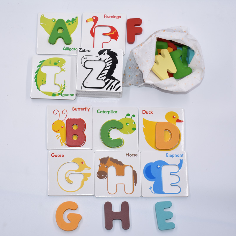 Cognitive letter puzzle baby toys wooden 3d metal puzzle Educational recognize 26 letters colorful card to help baby study hand grasp knob pegged puzzle wooden quality animals characters letter cognitive board children recognization toys