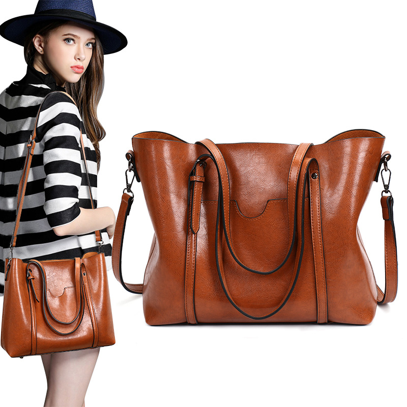 Women Bag Leather Handbag Tote Shoulder Soft High Capacity Vintage Designer