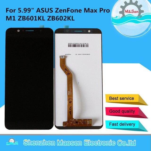 "M & Sen 5.99 ""ASUS ZenFone Max Pro M1 ZB601KL ZB602KL LCD Ekran + dokunmatik panel sayısallaştırıcı Çerçeve ASUS ZB602KL Meclisi"