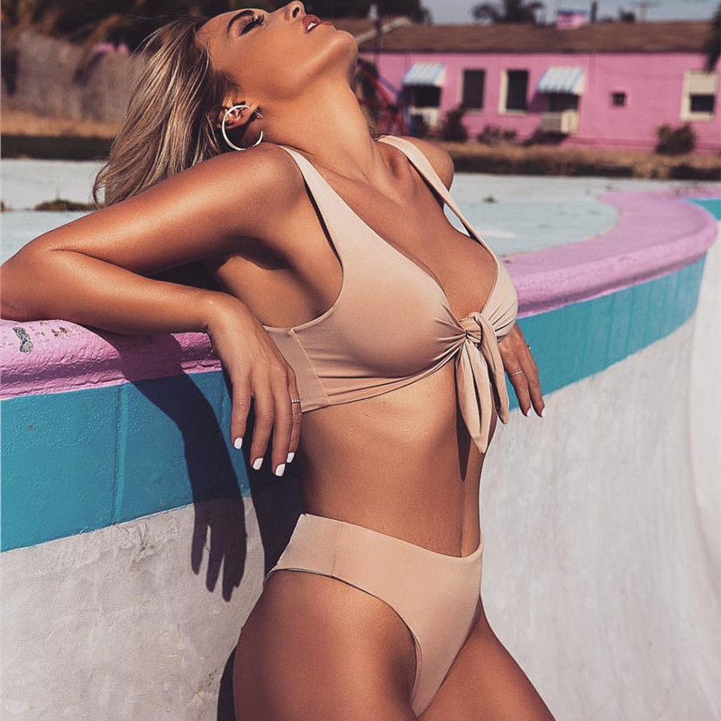 2018 neue Reizvolle Feste Biquinis Padded Gebunden Bowknot Hohe Taille Bikini Set Frauen Badeanzug Strandbadebekleidung Badeanzug bowknot