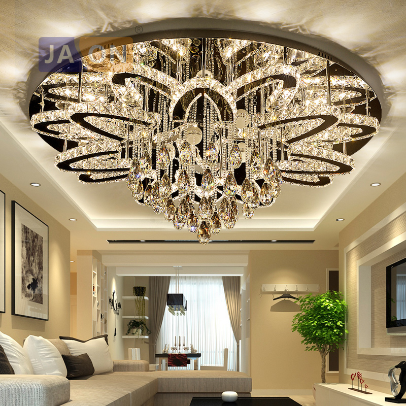 LED Modern Crystal Stainless Steel Round Dimmable RGB Chandelier Lighting Lamparas De Techo For Foyer