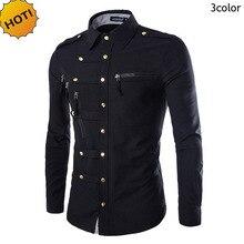 Новинка, модная Осенняя рубашка Masculina, мужские рубашки для отдыха с длинным рукавом, с пряжкой, мульти, на молнии, с карманом, облегающие мужские рубашки