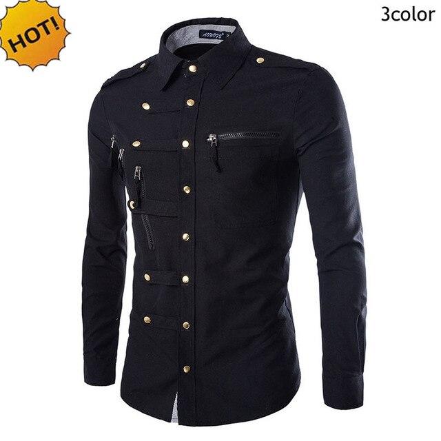 New2017 Fashion Autumn Camisa Masculina Men's Leisure long-sleeve Shirts Buckle Multi Zipper Pocket Slim Fit Mens Dress Shirts