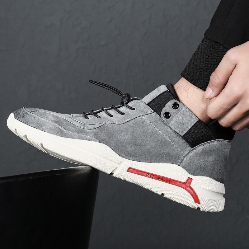 De Rendas Luxo Camurça Casuais gray Superior Dos Marca Men Misalwa Black Couro Mocassins Médio Masculinos Tênis Sapatos Sneaker Sola Até Calçado Grossa Sneaker Homens Ofwx08qE