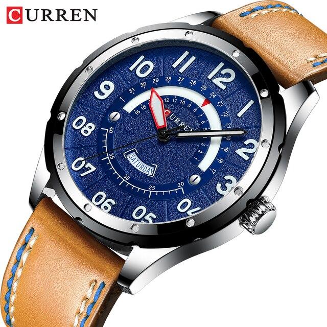 CURREN Reloj de pulsera para hombre, de cuero de moda, de lujo, con fecha y calendario, de cuarzo, informal