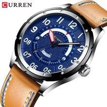 CURREN ساعة معصم رجال فاخر موضة ساعات جلد للرجال ساعة التقويم تاريخ ساعة كوارتز ساعة رجالية عادية
