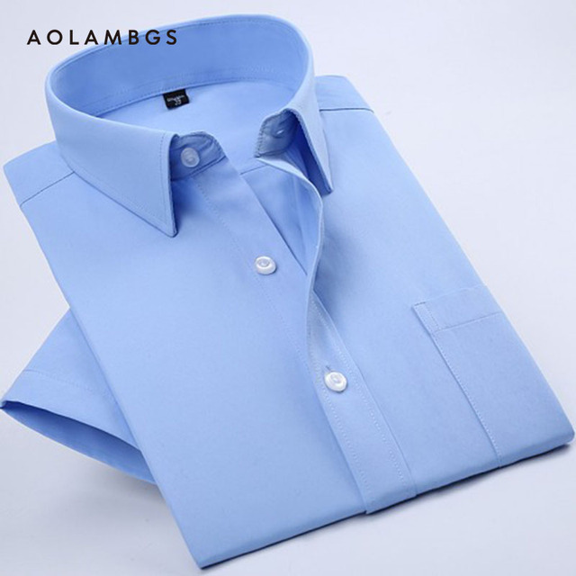 Men Fashion Shirts 2016 New Arrival Brand Summer camisa Masculina Causal Slim Fit Shirts Short-sleeve Solid Color Shirts 4XL