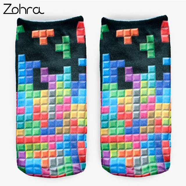 Zohra Winter Tetris 3D Graphic Full Printing Calcetines Sock Women Meias Low Cut Ankle Socks Cotton Hosiery Socks