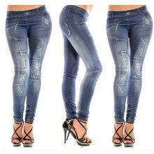 Sexy Solid Chic Bodycon Stretch Chic Casual Club Women Imitation Jean Leggings Hole Punk Style Pants Jegging Clothes CL53025+25