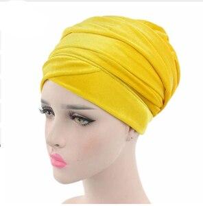 Image 4 - Foulard en velours pour femmes, Hijab, foulard pour femmes musulmanes, Turban, chapeau de tête, chapeau pour dames, accessoires pour cheveux, casquette intérieure islamique, nouvelle