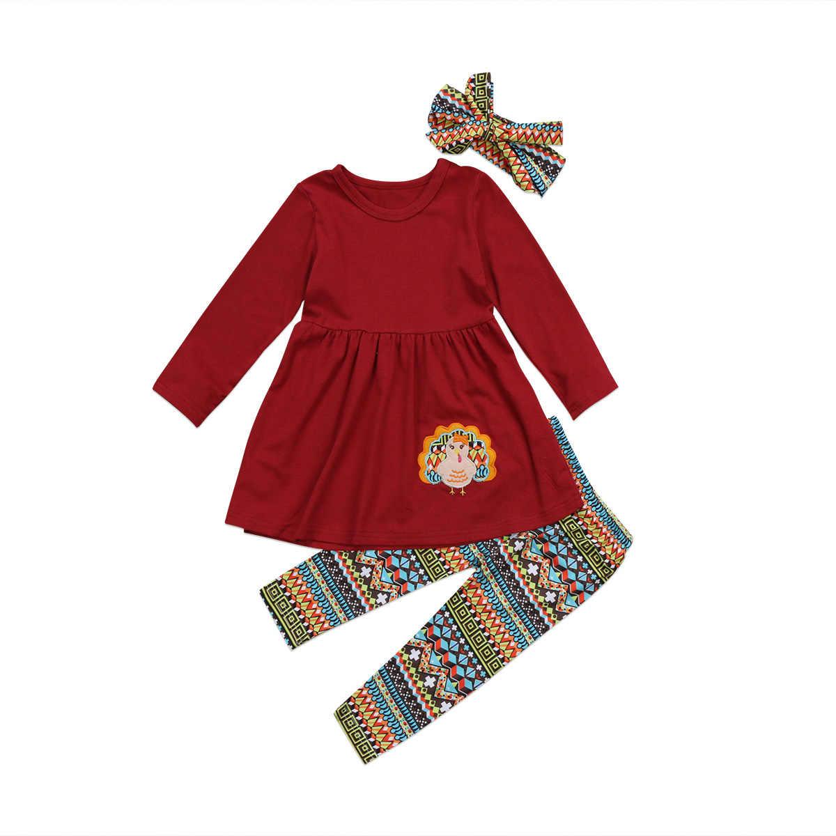 วันขอบคุณพระเจ้าตุรกีเด็กเสื้อผ้าเด็กผู้หญิงชุดฤดูใบไม้ร่วงแขนยาวเสื้อชุด Leggings Headband สาวเสื้อผ้าชุดผ้าฝ้าย