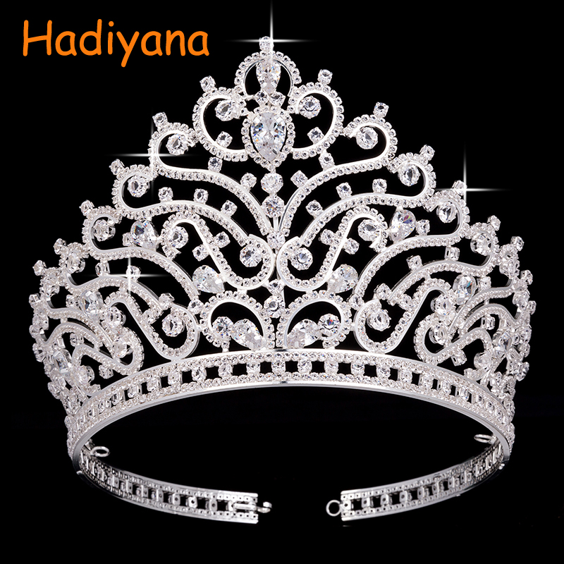 Hadiyana Wholesale Attractive Bridal Shining Big Crown With AAA Zincons Fashion Hair Jewelry Accessories Crowns For