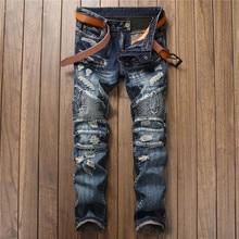 2017 Plus Size Men Jeans Business Casual Ripped Jeans Cotton Skinny Slim Jeans Denim Pants Trousers Cowboys Young Man Jeans