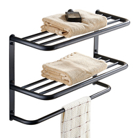 Modern black retro 304 stainless steel paint three layer towel rack wall mounted multi function towel holder bathroom products