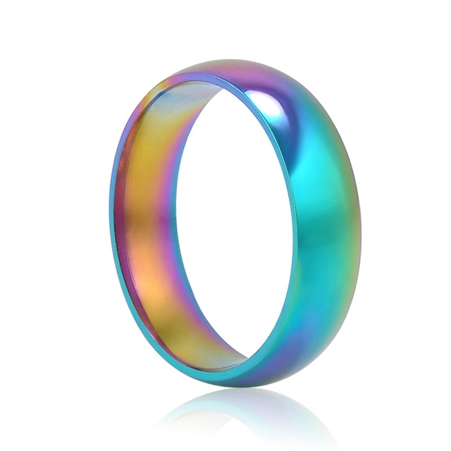 new colorful rainbow rings for women cheap stainless steel ring men jewelry wholesale wedding rings girl - Rainbow Wedding Rings