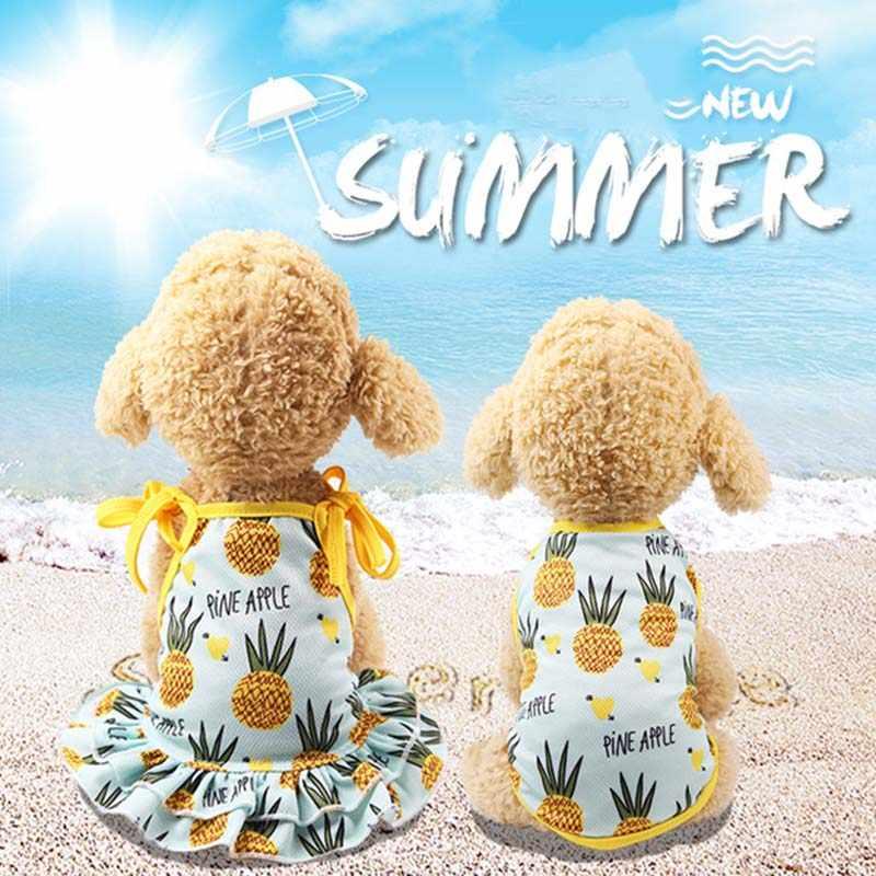 Новые летние с воздухопроницаемой сеткой для животных одежда милые фрукты печатные ПЭТ кошка наряд для маленьких собачек жилет футболка юбка для щенка наряд принцессы