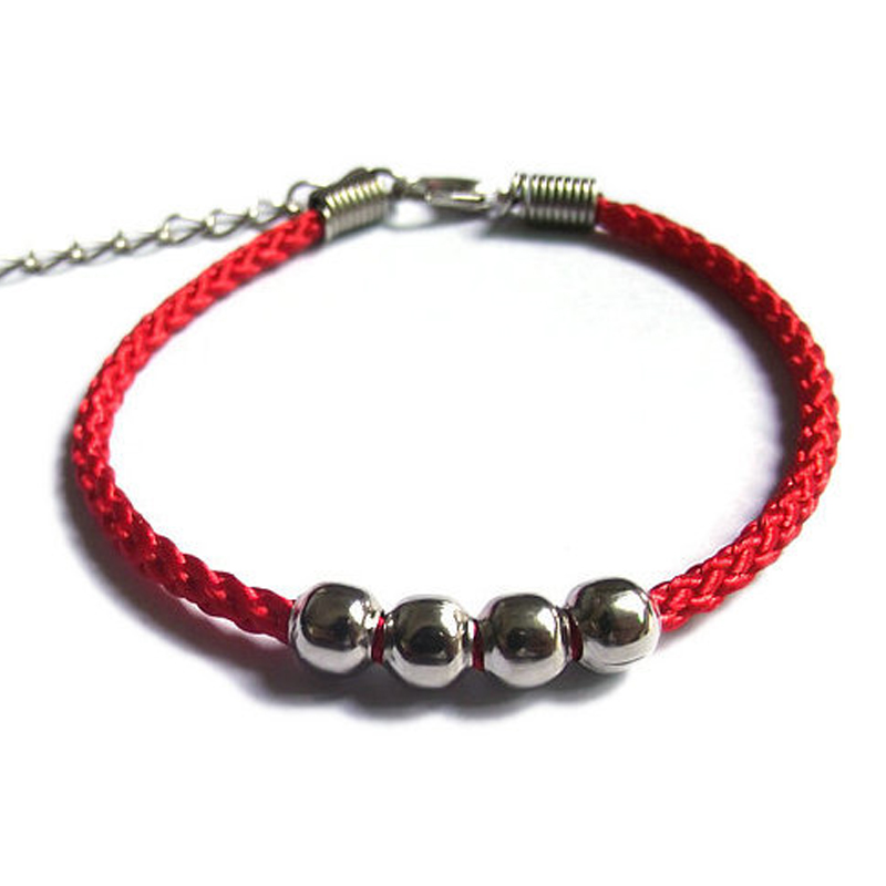 Lucky Red Black Thread Amulet String Silver Color Charm Extended chain Bracelets For Women Bestfriend Gift Rope Bracelet in Charm Bracelets from Jewelry Accessories