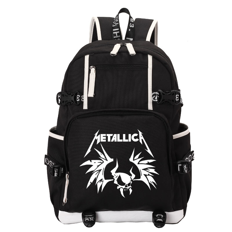 Metallica LOGO school bag backpack student school bag Notebook backpack Daily backpack black Rucksack wholesale anime black butler backpack student daily cartoon school backpacks for teenagers bag rucksack bags with double zipper