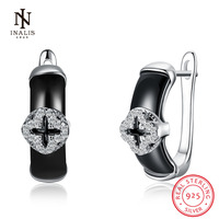 INALIS 925 Sterling Silver Earrings White Color Black Color Ceramics Earrings For Women Girl Party Wedding