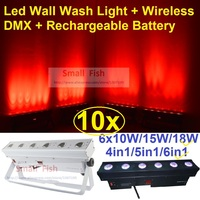 10xLot DJ lights RGBWA+UV 12x18W 6 in 1 Moving Head Led Bar Light Wireless Dmx Battery Powered Led Wall Washer Wash Stage Effect