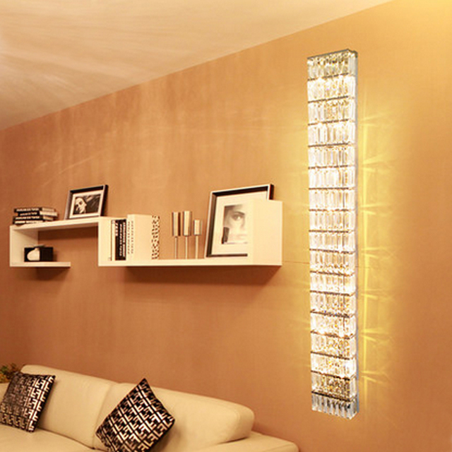 Wall Fixtures For Living Room Blue Gray Yellow Lights Home Led Sconce Modern Crystal Lamps Hallway Long