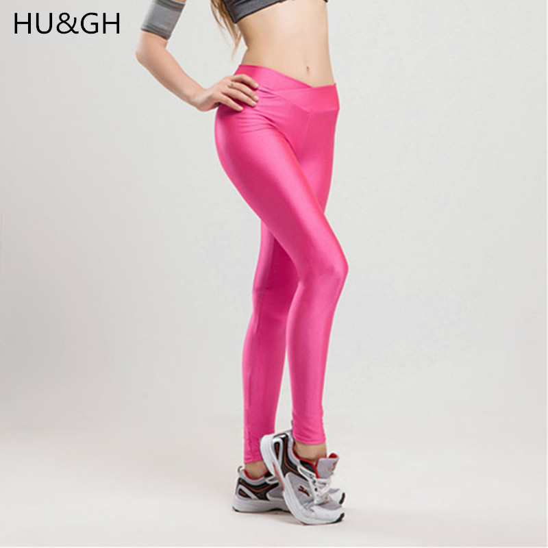 ARDLTME 2018 V High Waist Candy Colors Neon Sportswear Workout   Leggings   Women Pants Fashion Jegging Elastic Strtched Shiny