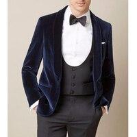 Темно синий мужской костюм свадебный классический свадебное покрывало жакет лацкан slim fit блейзер мужской костюм из трех предметов Свадебны