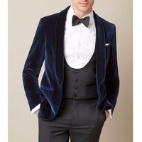 Navy blue men suit wedding classic jacket wedding shawl lapel slim fit blazer men three piece male suit for wedding groomsman