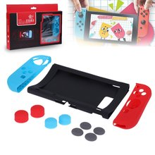 лучшая цена Silicone Case  Cover For Nintend Switch NS Console Joy-Con Protective Skin Cover with Thumb Stick Grip Joystick Caps 11 in 1