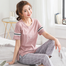 5XL Pajama Set Women Short Sleeve Top Letter Plaid Long Pants Pajamas Set Soft Sleepwear Female Pyjama Set Summer Home Wear