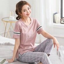 Женский пижамный комплект 5XL, с коротким рукавом, топ с буквенным принтом, клетчатые длинные штаны, мягкий пижамный комплект, женская пижама, летняя домашняя одежда