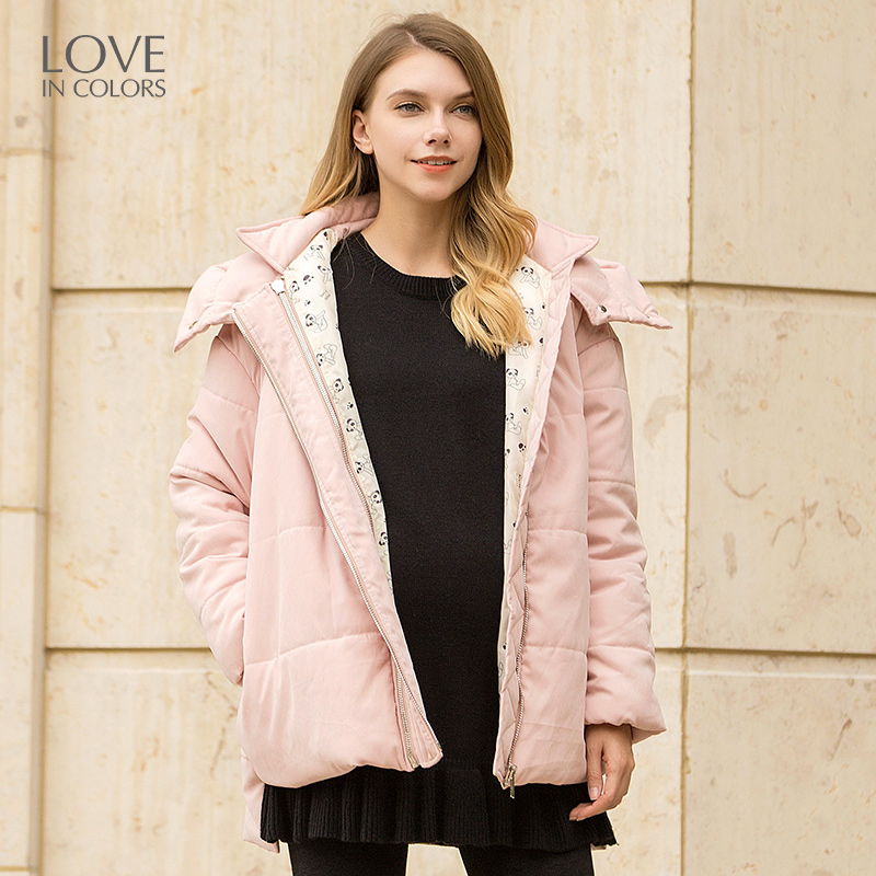 Loveincolors Maternity Women Thick Warm Coat Hoodie Adjustable Zipper Detachable Cap Pregnant Clothes sides zipper mens hoodie