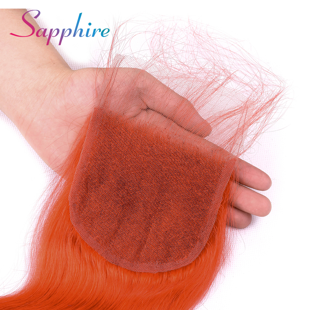 Sapphire Body Wave Hair Closure Peruvian Remy Human Hair 4X4 Free/Middle/Three Part Lace Closure Orange Color