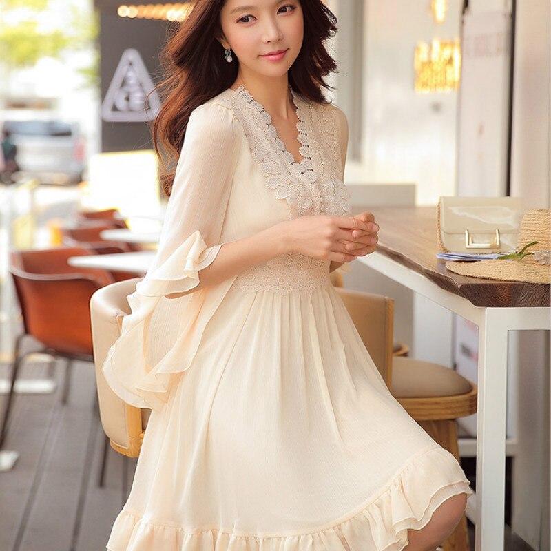 Dabuwawa printemps V cou volants dentelle mousseline de soie robe 2019 nouveau Vintage Flare manches Swing robe Midi pour les filles femmes D18CDR060