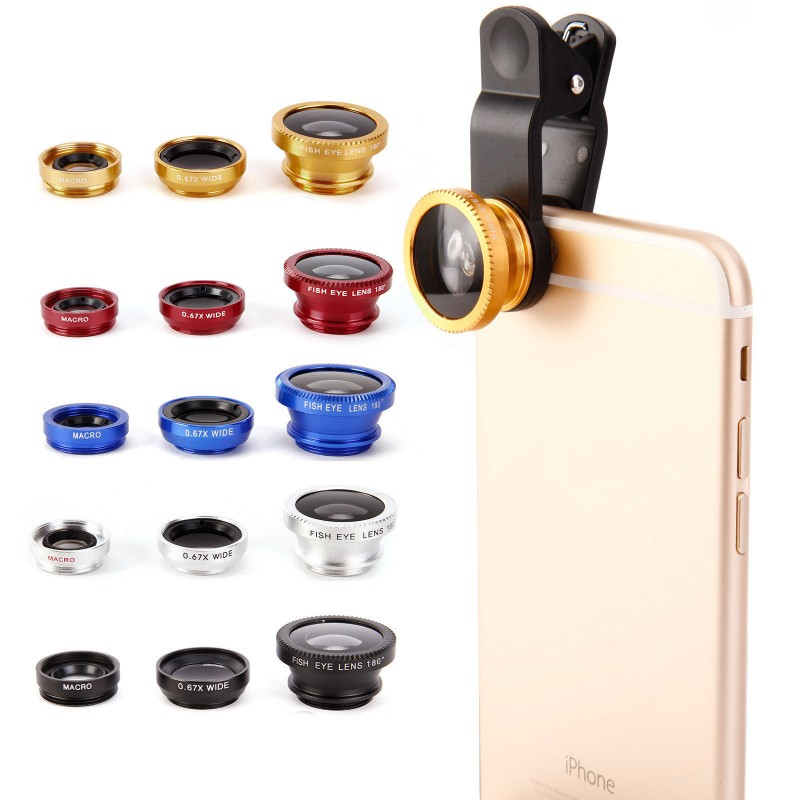 Universal Clip 3 in 1 HD Fish Eye <font><b>Camera</b></font> Macro Wide Angle <font><b>Phone</b></font> <font><b>Lens</b></font> For iPhone 7 8 6 6s Plus X For Samsung S7 Edge S8 Xiaomi image