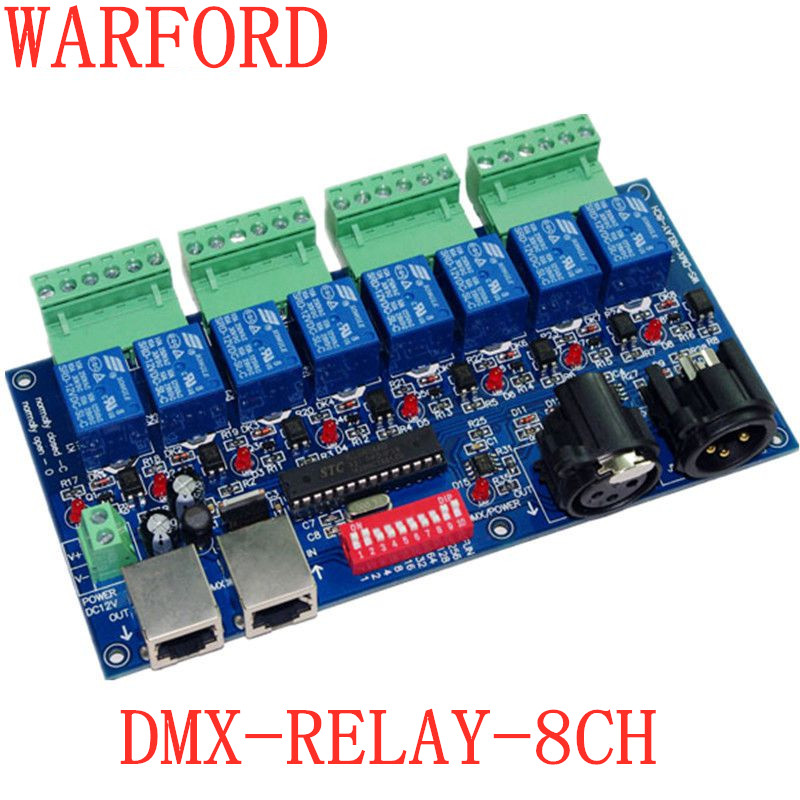 Best price 1 pcs 8CH Relay switch dmx512 Controller XLR+RJ45 dmx512 decoder led controller use LED free shipping