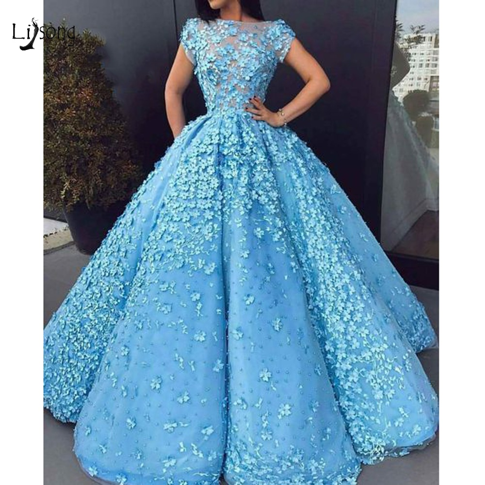 Gorgeous Sky Blue 3D Flower Ball Gowns Luxury Pearls Long   Prom     Dresses   Saudi Arabic   Prom   Gown Short Sleeves Vestidos Longo